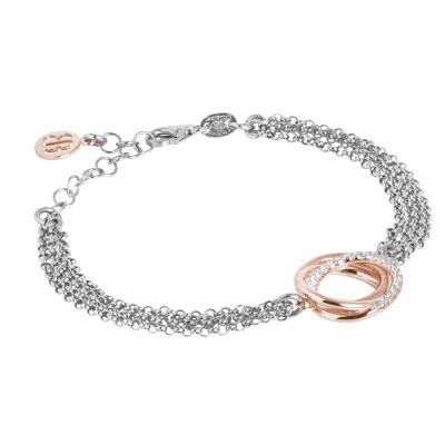Bracciale doppio filo in argento rodiato con decoro bicolor in zirconi