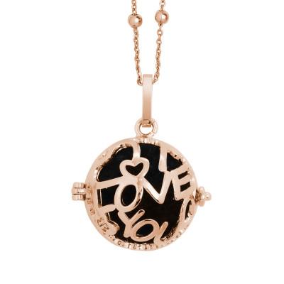 """Collana rosata con scrigno apribile scritta """"I love you"""" e batuffolo"""