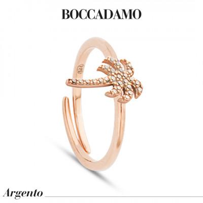 Anello placcato oro rosa con palma di zirconi