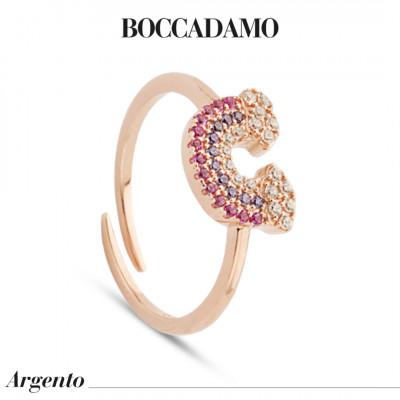 Anello placcato oro rosa con arcobaleno di zirconi multicolor