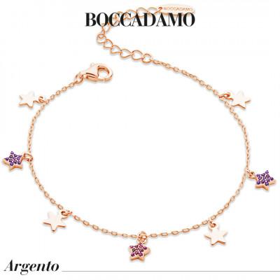 Bracciale placcato oro rosa con stelle lisce e di zirconi
