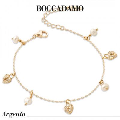 Bracciale placcato oro giallo con cuori di zirconi e freshwater pearls