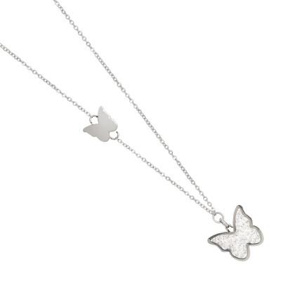 Collana con farfalla di glitter