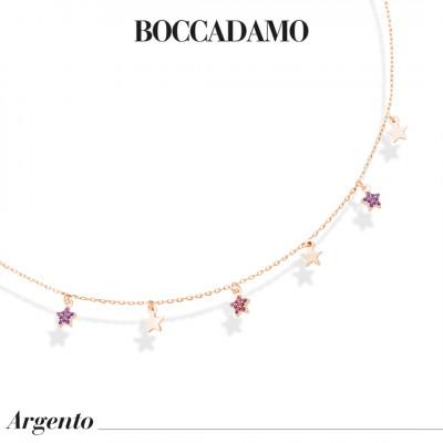 Collana placcata oro rosa con stelle lisce e di zirconi