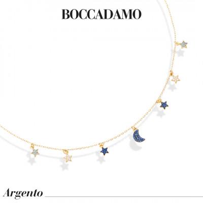 Collana placcata oro giallo con mezzaluna e stelle di zirconi blu