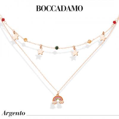 Collana doppio filo placcata oro rosa con zirconi e arcobaleno