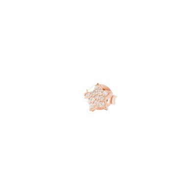 Orecchino a stella placcato oro rosa in zirconi fucsia