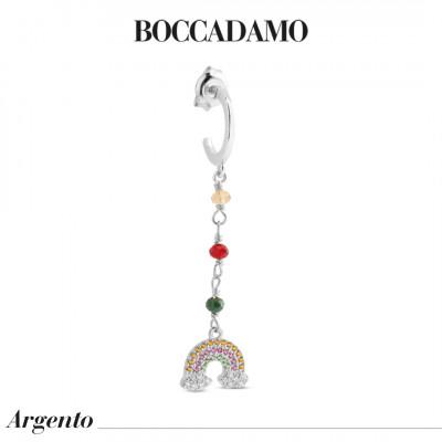 Orecchino pendente con zirconi colorati e arcobaleno