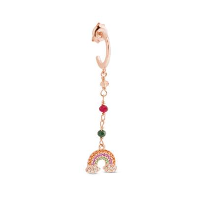 Orecchino placcato oro rosa con zirconi colorati e arcobaleno
