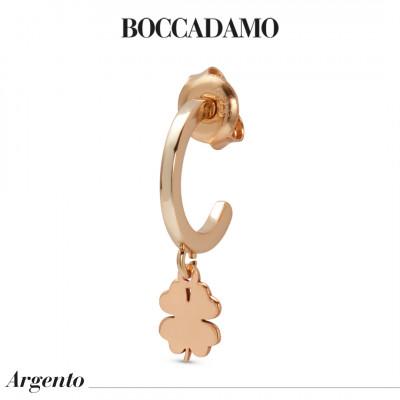 Mono orecchino placcato oro rosa con quadrifoglio