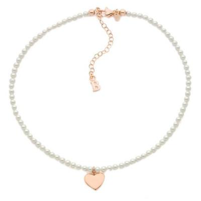 Collana con perle Swarovski e cuore centrale