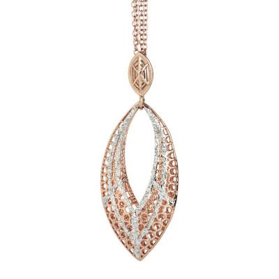 Collana in argento bicolor con pendente ovale