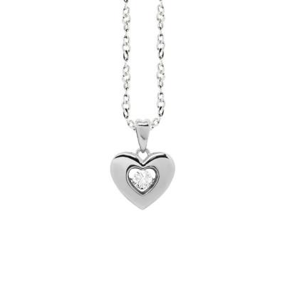 """Collana con pendente a cuore misura """"small"""" e zircone"""