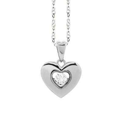 """Collana con pendente a cuore misura """"medium"""" e zircone"""