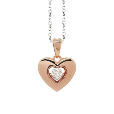 """Collana bicolor con pendente a cuore misura """"medium"""" e zircone"""