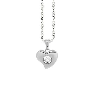 """Collana con pendente a cuore curvo misura """"small"""" e zircone"""