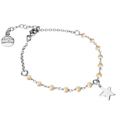 Bracciale con cristalli beige e stella