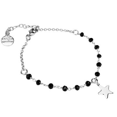 Bracciale con cristalli neri e stella
