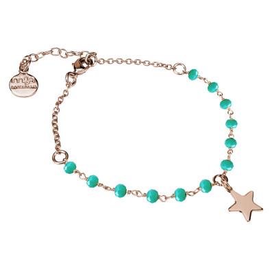 Bracciale rosato con cristalli verdi e stella