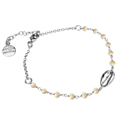 Bracciale con cristalli beige e conchiglia