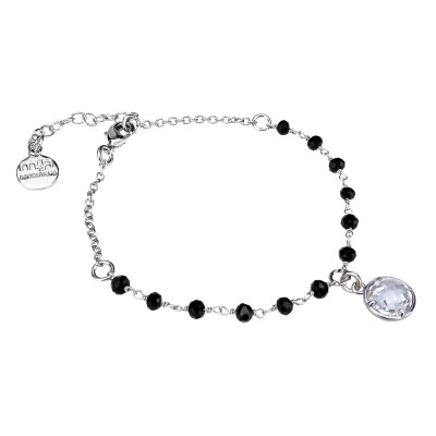 Bracciale con cristalli neri e cristallo crystal