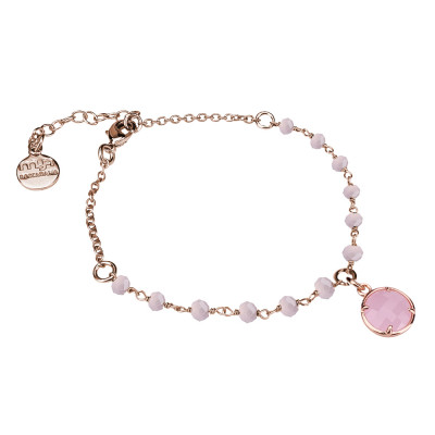 Bracciale rosato con cristalli rosa milk e cristallo pendente