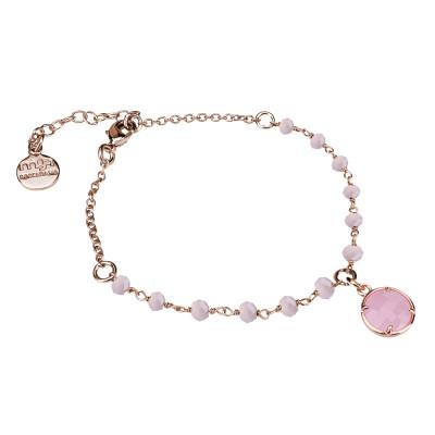 Bracciale rosato con cristalli rosa milk e cristallo pendente
