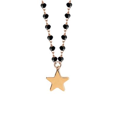 Collana rosata con cristalli neri e stella