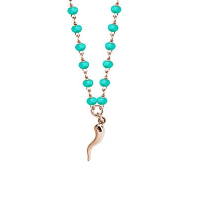 Collana rosata con cristalli verde acqua e cornetto portafortuna