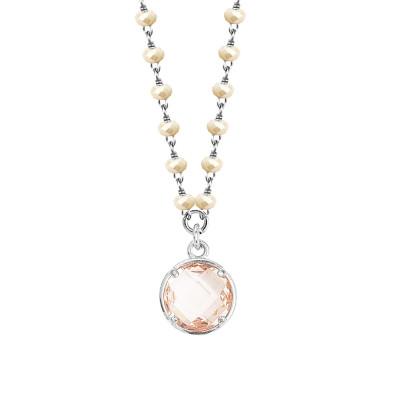 Collana con cristalli beige e cristallo peach pendente