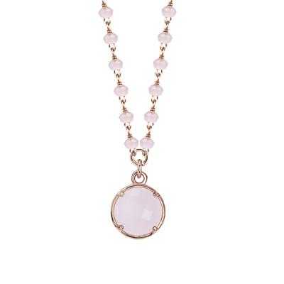Collana rosata con cristalli e pendente rosa milk