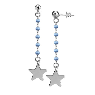 Orecchini con cristalli celesti e stella finale
