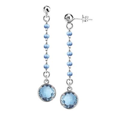 Orecchini con cristalli celesti e pendente sky