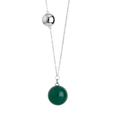 Collana in acciaio con cabochon verde