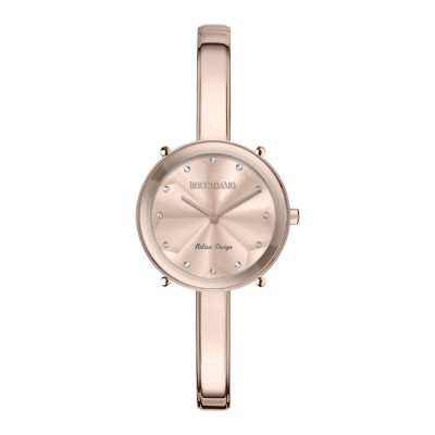 Orologio solo tempo donna rosa con indici in Swarovski