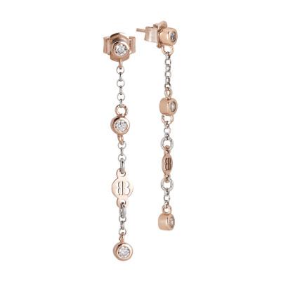 Orecchini pendenti placcati oro rosa con zirconi taglio diamante