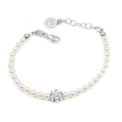 Bracciale in argento con perle bianche e fiore centrale