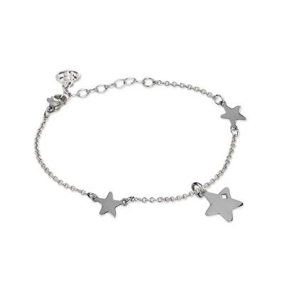 Bracciale rodiato con stelle