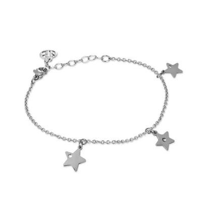 Bracciale rodiato con charms a forma di stelle