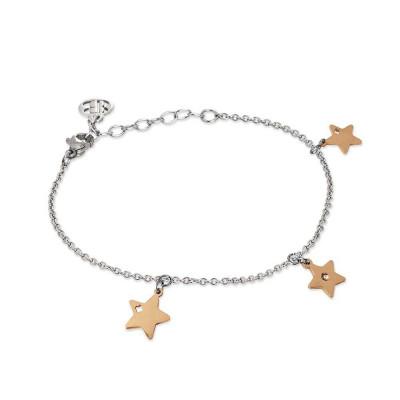 Bracciale rodiato con charms rosati a forma di stelle