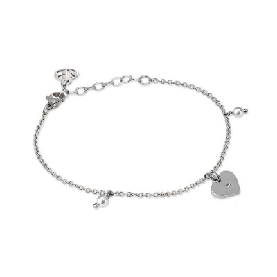 Bracciale rodiato con charm a cuore, zircone e perle Swarovski