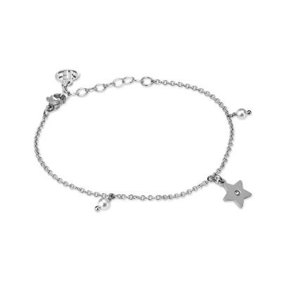 Bracciale rodiato con charm a stella, zircone e perle Swarovski