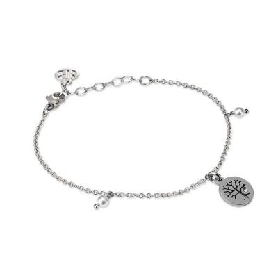 Bracciale rodiato con charm ad albero della vita, zircone e perle Swarovski