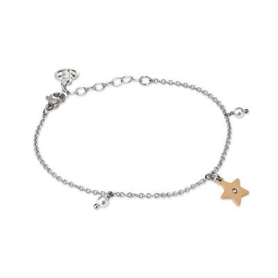 Bracciale con charm rosato a stella, zircone e perle Swarovski
