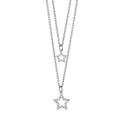 Collana doppio filo degradè con stelle pendenti e zirconi