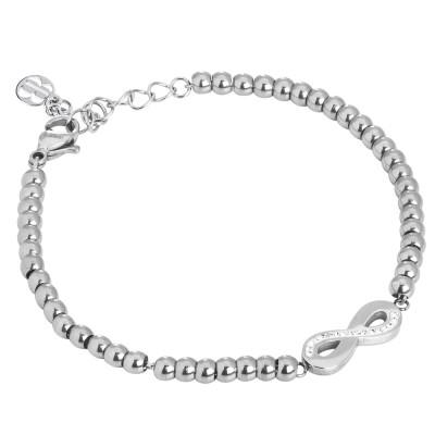 Bracciale bead con simbolo dell'infinito e strass