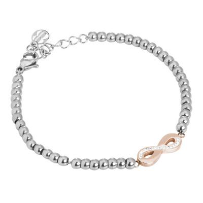 Bracciale bead con simbolo dell'infinito rosato e strass