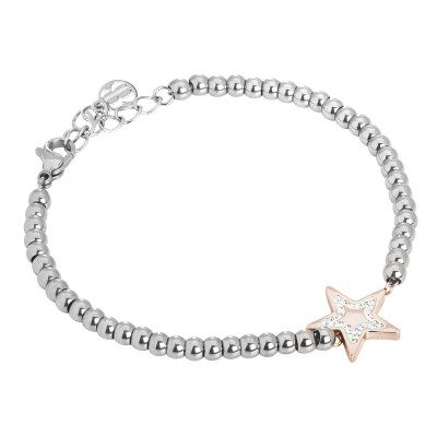 Bracciale bead con stella e strass
