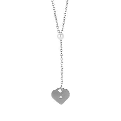 Collana con perla Swarovski e cuore pendente