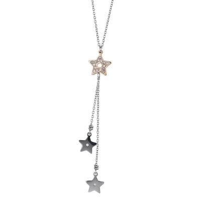 Collana in acciaio rosa con pendente a ciuffetto di stelle